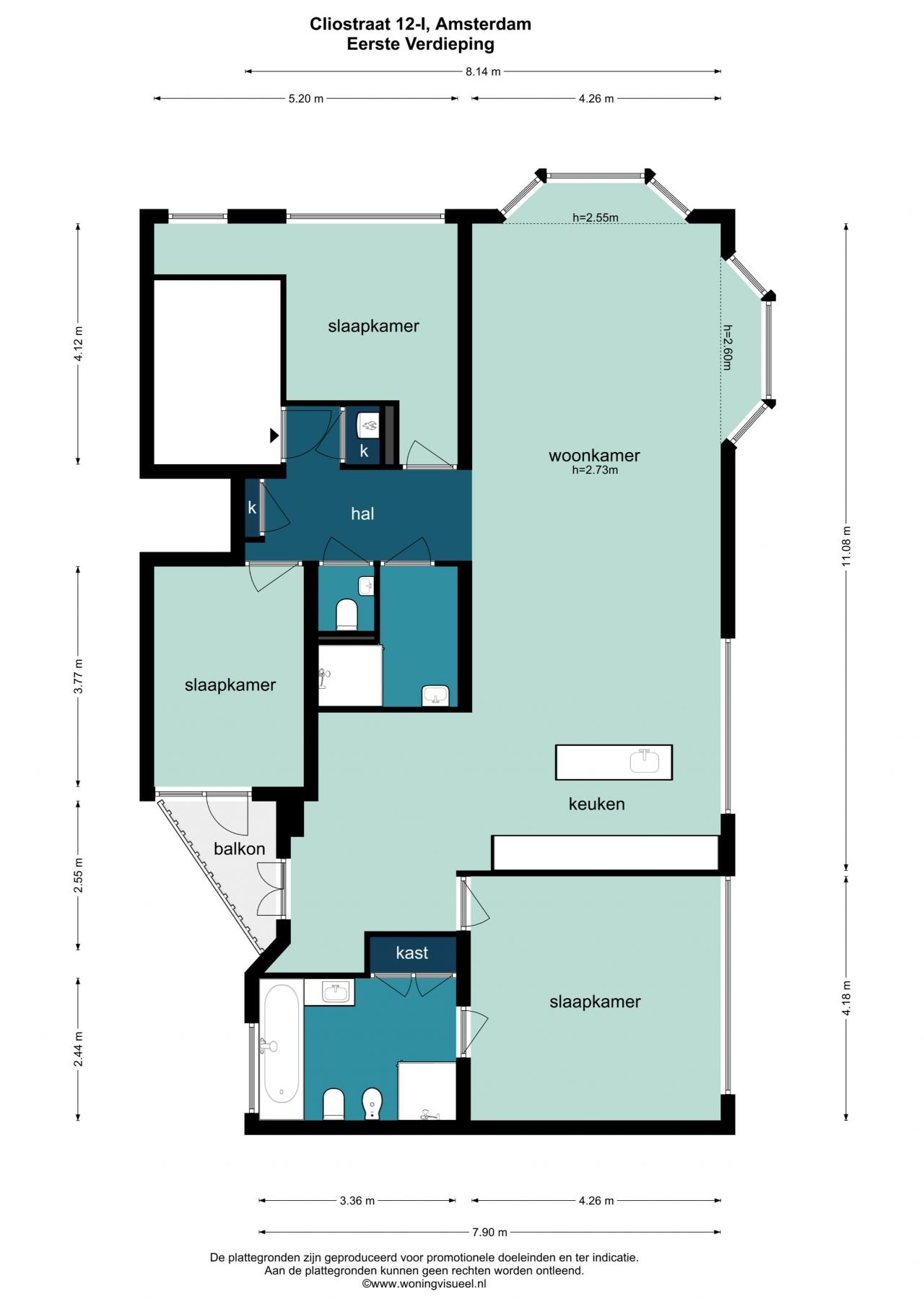 Plattegrond tweede verdieping (derde verdieping is identiek)